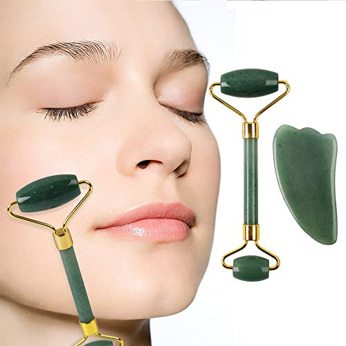 Jade Roller & Gua Sha Scraping Massage Tool, 100% All-Natural Jade, Highly Potent, Anti Aging Wrinkle, Facial Massager Therapy, Clears Toxins, Double Neck Healing Slimming Massager