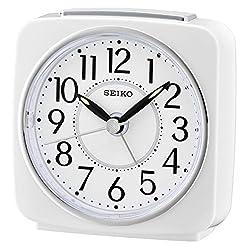 Seiko Beep Alarm Clock with Snooze - White
