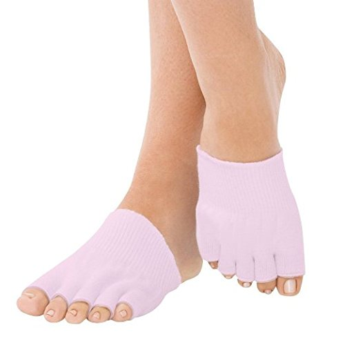 Bcurb Pink-1Pr Toe Gel Socks Moisturizes Skin Gel Lined Toes Separating Therapeutic Compression Socks for Dry Forefoot Feet Hard Cracked Skin. (Pink-1PairToeGelSocks)
