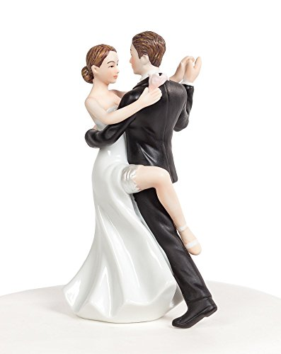 Wedding Collectibles Funny Sexy Dancing Wedding Cake Topper with Bride and Groom | Fun, Sexy, Humorous Figurine | Fine Porcelain | 5.5 Inches (Tall Groom Short Bride Wedding Cake Topper)