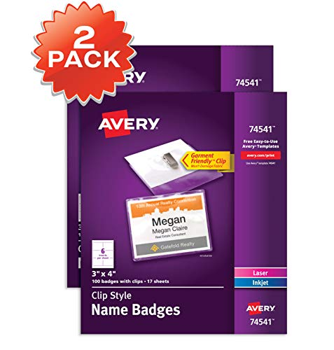 (Avery Top-Loading Garment-Friendly Clip-Style Name Badges, 3