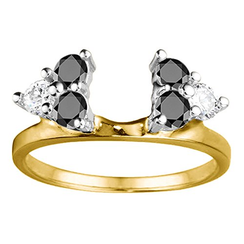 Black Cz Engagement Ring Jacket in Sterling Silver (0.12Ct) Size 3 To 15 in 1/4 Size Interval by TwoBirch (Image #4)