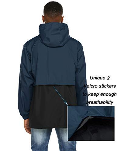 (poriff Men's Active Outdoor Raincoat Front-Zip Hiking Rain Jacket Windbreaker with Hooded Navy Blue XXL)