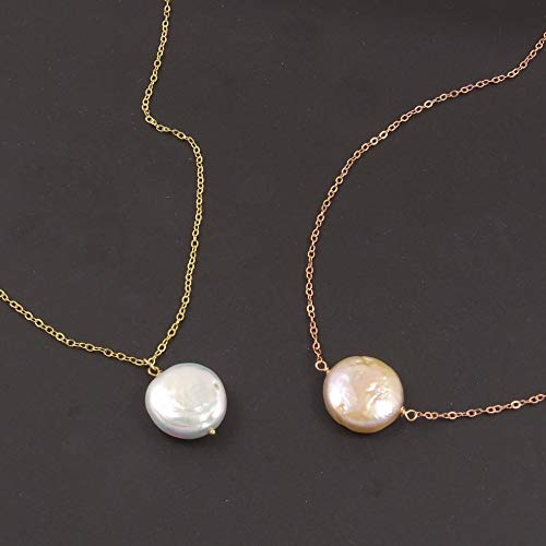 Elegant White Coin Freshwater Pearl Necklace - Sideways or Pendant/Sterling Silver or 14K (Rose) Gold Filled