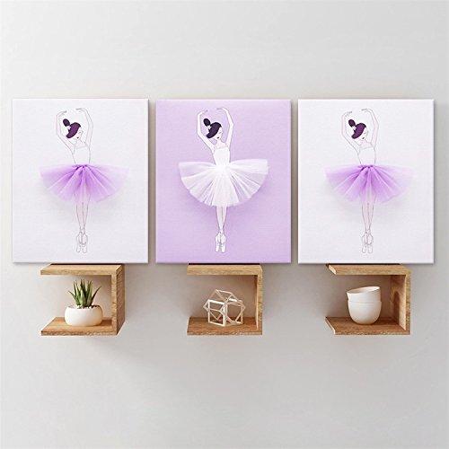AmazingWall Frame Ballet Canvas Painting Wall Art Decor Ready To Hang Picture Print Artwork 9.84x11.81'' 3Pcs/set