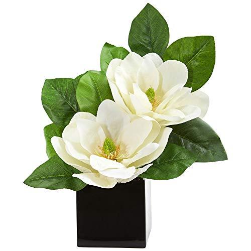Nearly Natural 1793 Magnolia Artificial Black Vase Silk Arrangements White