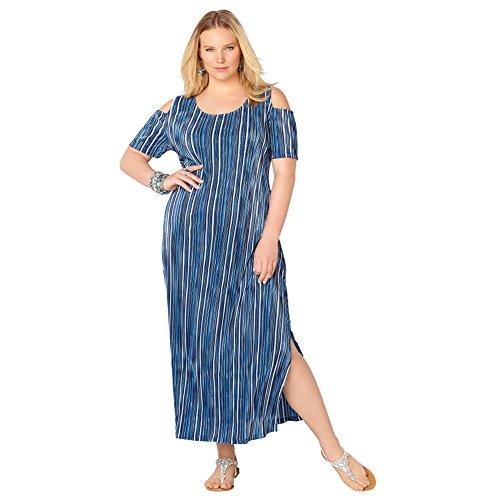 AVENUE Women's Striped Bodre Maxi Dress, 14/16 Blue