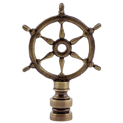 Ship's Wheel Lamp Finial - Antique Brass - 2.75'' High