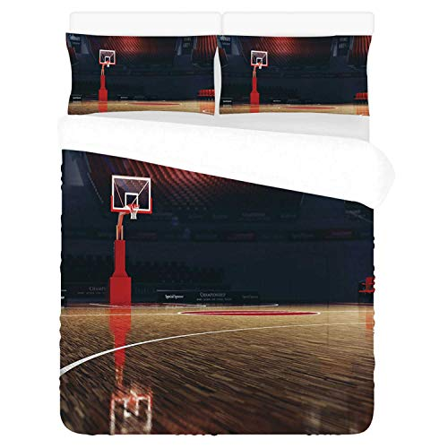 Sports Decor Comfortable 3 Piece Bedding Set,Picture of Empty Basketball Court Sport Arena with Wood Floor Print for Home,Duvet Cover:86