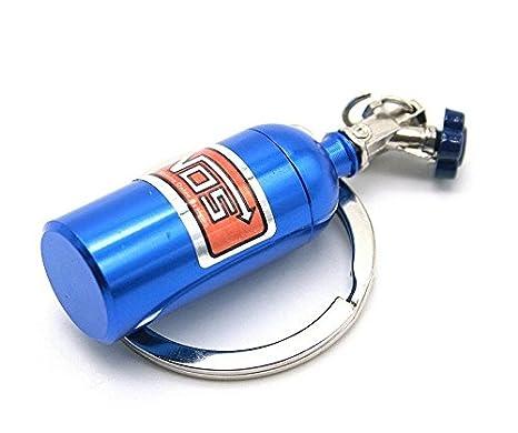 yeah67886 azul Auto partes modelos Mini óxido nitroso botella llavero clave cadena anillo
