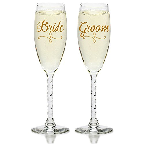 Bride & Groom Gold Champagne Flutes - Elegant Wedding Toast Glass Set For Couples - Engagement, Wedding, Anniversary, House Warming, Hostess Gift by Smart Tart Design