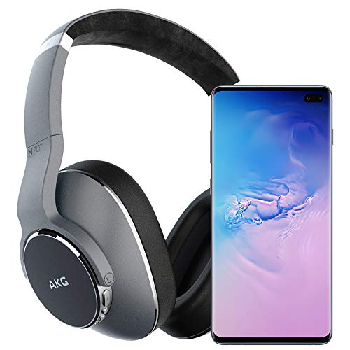 Samsung Galaxy S10+ Plus Factory Unlocked Phone with 128GB (U.S. Warranty), Prism Blue w/AKG N700NC Headphones