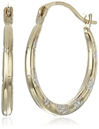 14k Yellow and White Gold Patterned Hoop Earrings