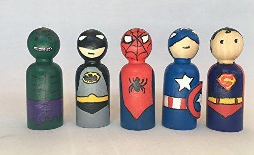 Superheroes de madera pintados a mano para jugar, decorar el ...