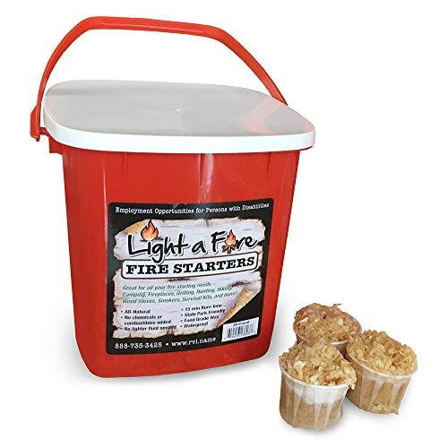 Wood Starter - Light-A-Fire, All Natural Fire Starter. BBQ, Charcoal, Wood Fire. 30 Pods with Container