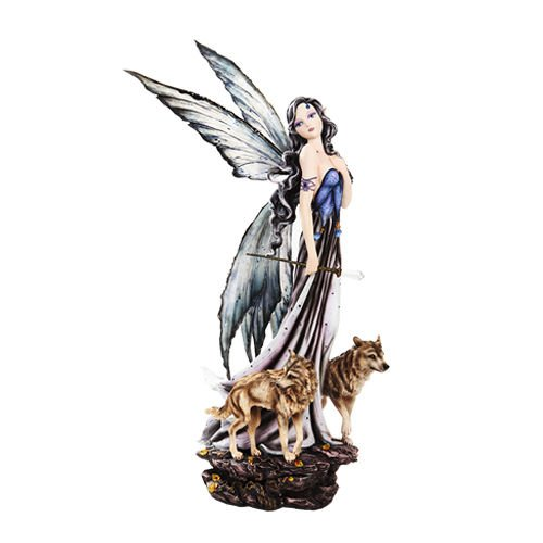 Large 23''H Mountain Orb Fairy Running With Wolves Sculpture Beautiful Figurine by Figurine