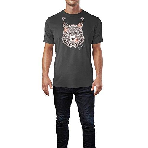 SINUS ART ® Luchskopf im orientalischen Stil Herren T-Shirts in Smoke Fun Shirt mit tollen Aufdruck