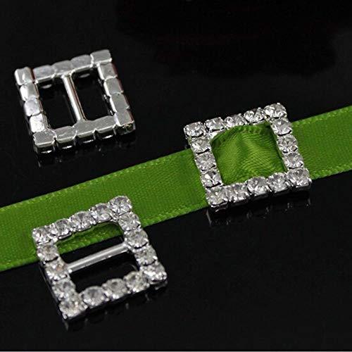 (Crazy Genie 15mm 50pcs Square Rhinestone Buckle Invitation Ribbon Slider For Wedding Supply Silver)