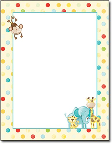 Baby Zoo Animals Letterhead - 80 Sheets