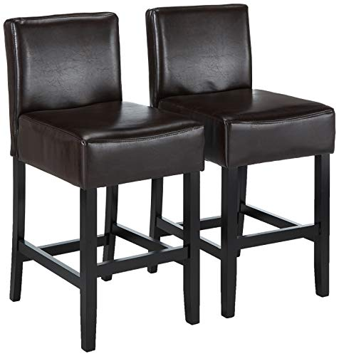 - Best Selling Lopez Leather Counter Stool, Brown, Set of 2
