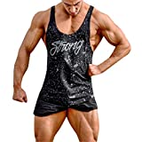 Allywit-Mens Gym Stringer Tank Top Bodybuilding Athletic Workout Muscle Fitness Vest Big and Tall Black