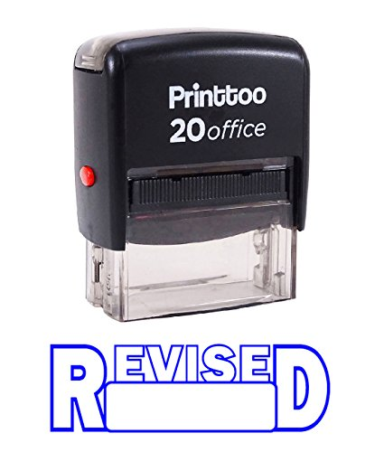 Printtoo REVISED Self Inking Rubber Stamp Office Stationary Custom Stamp-Blue