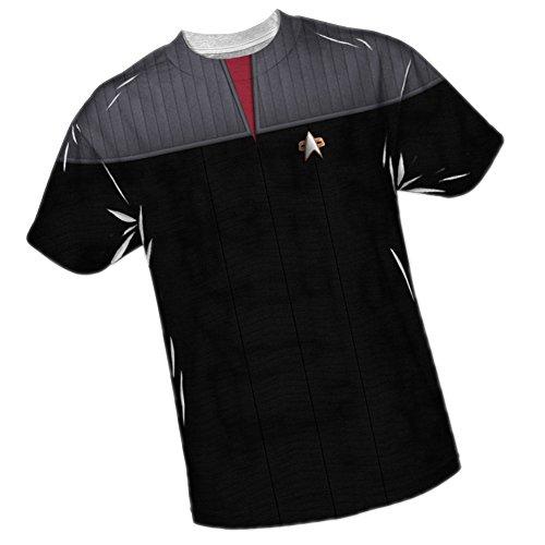 TNG Movie Red Uniform -- Star Trek Front/Back Sports Fabric T-Shirt, (Star Trek Tng Uniforms)
