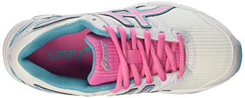 Asics Gel-Galaxy 8 GS - Zapatos de Entrenamiento de Carrera EN Asfalto Unisex Niños Multicolore (White/Flamingo/Scuba Blue)