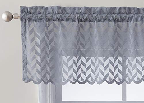 (HLC.ME Herringbone Semi Sheer Voile Kitchen Cafe Curtain Panel - Rod Pocket - Tier, Swags & Valances for Small Windows & Bathroom - 54