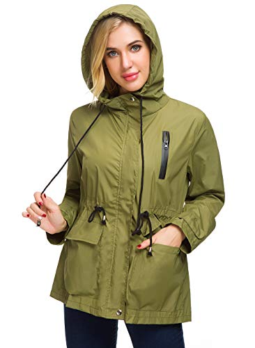 - AKEWEI Hooded Rain Jacket for Women Belted Raincoat Thick Rain Coats with Bag (Army Green 2XL)