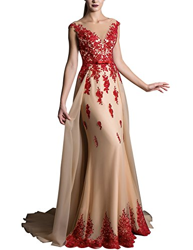 2019 Long Lace Mermaid V Neck Wedding Sash Prom Dresses Sweep Train Elegant Bridal Belt Bow Formal Gown EV429 Red Champagne Size 12