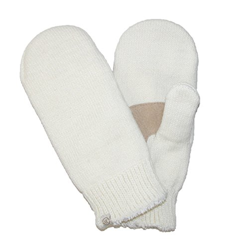 Isotoner Women's Chenille with Suede Palm Mitten, Ivory