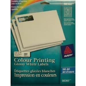 "08360 AVERY Glossy White Colour InkJet Printing Labels. 300 pcs. 2 1/4"" x 3/4"""