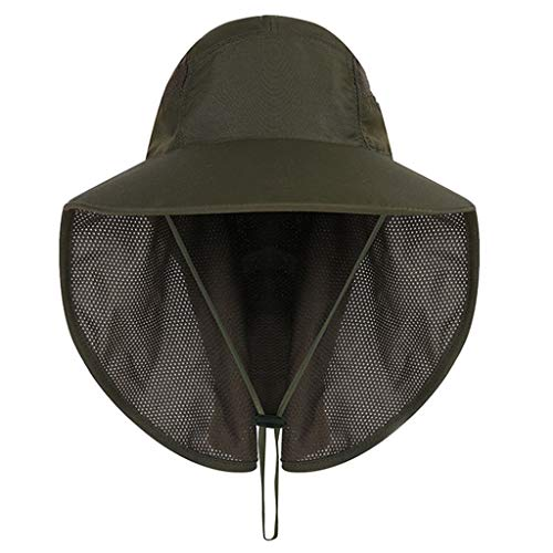 Feitengtd Sun Hat Sports Outdoor Sun Protection Camping Fishing Hat Wide Brim Face Flap Cover Cap (Army Green, Free)