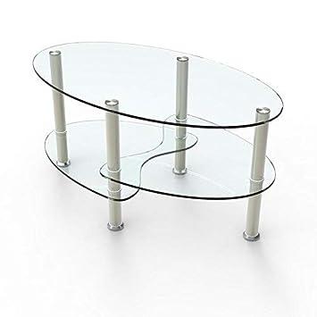 Uenjoy Table Basse Table De Salon En Verre Ovale Clair Avec Pieds