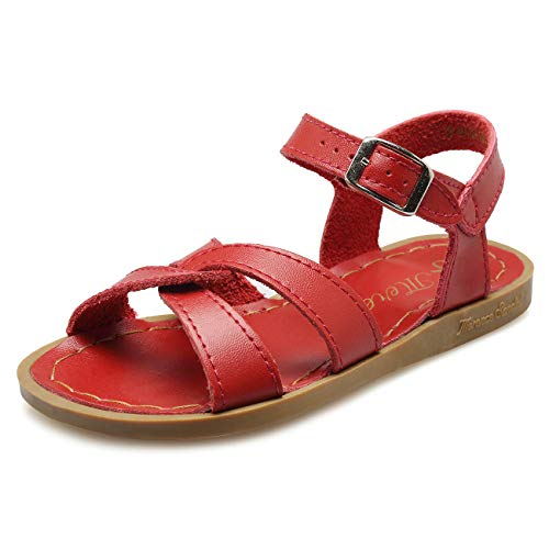 (WALUCAN Girl's Leather Sandals Open-Toe Adjustable Flat Sandal Casual Shoes Outdoor and Indoor (Toddler/Little Kid/Big Kid/Women's) Red)