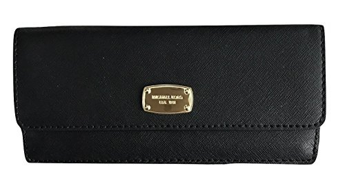Michael Kors Jet Set Travel Flat Wallet Saffiano Leather,Black,Medium