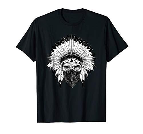 Indian Skull Rag Tshirt, Native American Tattoo, Zany Brainy ()