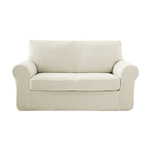 Deconovo Jacquard Stretch Solid Color Small Checked White Loveseat Sofa Covers 2 Pieces Spandex Polyester Sofa Slipcover for Loveseat Ivory White 2 Piece Sectional Chaise
