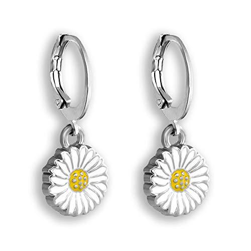 (Daisy Earrings For Women | Comfortable Hoop Earrings | Hand Painted Hypoallergenic Earrings)