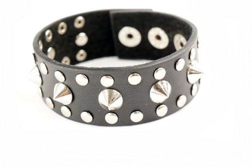 [Punk Gothic Biker Spike Cone Stud Faux Black Leather Wide Bracelet Wristband] (Emo Rocker Costume)