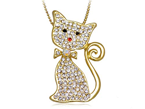 (Meow Purr Gold Cat Bow Tie Fashionable Clear Crystal Rhinestone Pendant Necklace)
