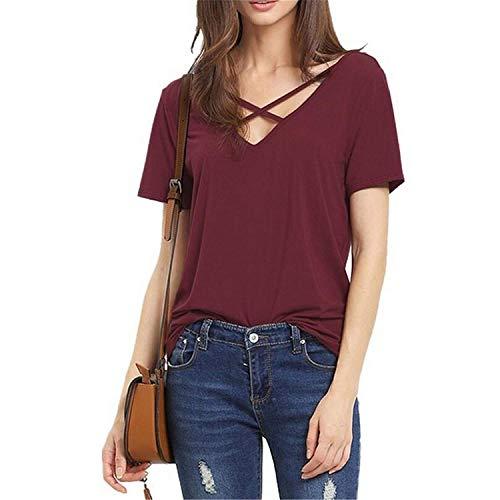 Camicetta Manica Moda Moda Elegante Corta Stile Estivi Magliette Baggy V Donna Casual Monocromo Giovane Shirt T Accogliente Neck Modern Shirts Top A4tgqw