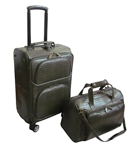AmeriLeather Traveler Croco Print Leather 2pc Spinner Luggage Set (Moss) Green Croco Print