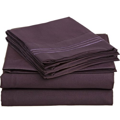 King Size Royal Collection 1800 Count 6 Pcs W/4 P/Cases Luxury Hotel Quality Bed Sheets Super Silky Soft Brushed Bamboo Quality Wrinkle Free, Fade, Stain Resistant - Hypoallergenic DELUXE (Plum, King) by Royal Collection 1800