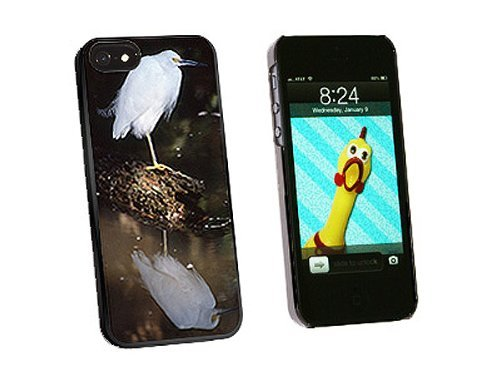 Graphics and More Snowy Cattle Egret Bird Snap-On Hard Protective Case for iPhone 5/5s - Non-Retail Packaging - Black