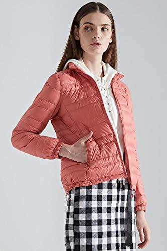 Bmeigo Slim Fit Ultraligero Chaqueta Cuello Cremallera Puffer Abajo Tops Pink Invierno Soporte Corta Abrigo Mujeres 7rHOnwq7
