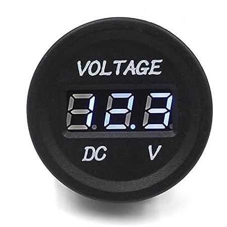 SODIAL(R) Car Motorcycle Waterproof LED Digital Display Voltmeter 12V-24V DC (Blue) 067370A2
