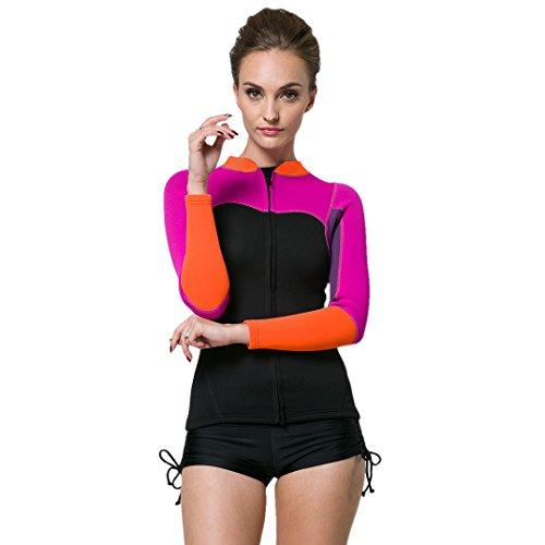Lynddora Womens Long Sleeve 2MM Neoprene Diving Jacket Front Zipper Wetsuit Top Warm Protection (Purple Black, US S/Tag - Swim Neoprene Jacket