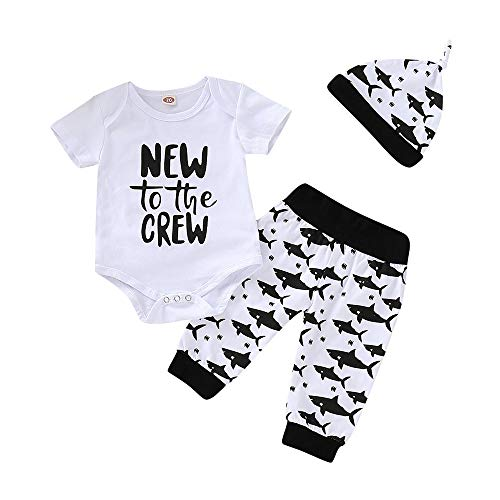 Baby Boy Girl Clothes Set New to The Crew Print Short Sleeve White Romper + Shark Pants + Hat 3pcs Outfits (3-6 Months, Shark)]()